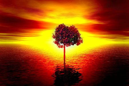 repulse: Sunset. Illustration with lonely tree
