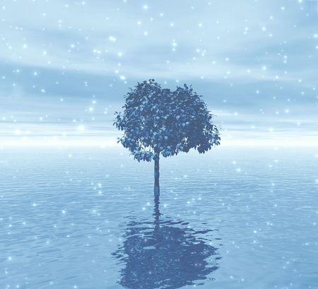 Lonely tree. Soft blue snow abstract Stock Photo - 396922