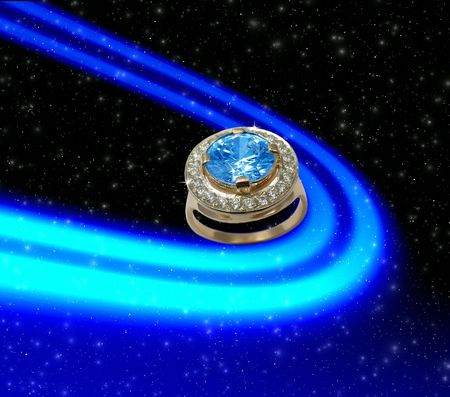 Space background with  sapphire ring photo