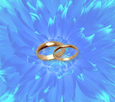 Blue fine flowers background with wedding rings Stock Photo