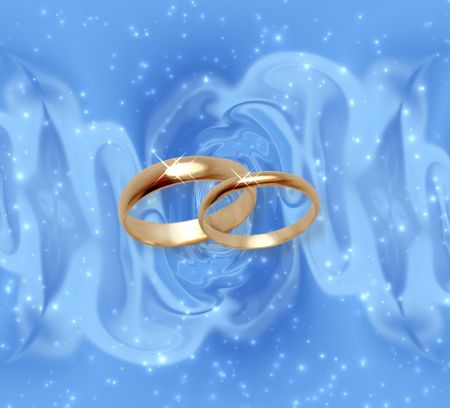 Abstract snow background with wedding rings photo