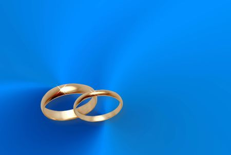 wallpaper rings: Blue background for wedding card Stock Photo