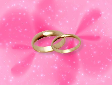 Pink celebratory abstract with wedding rings photo