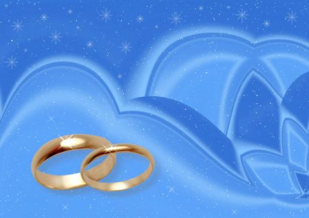 Blue background for wedding card. Winter wedding photo
