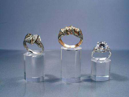 Jeweler's show. Rings with brilliants Stock Photo - 408499