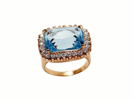 Beautiful ring with  sapphire and brilliants photo
