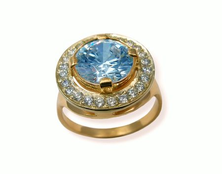 Jewelry golden ring with sapphire. Stock Photo - 408490
