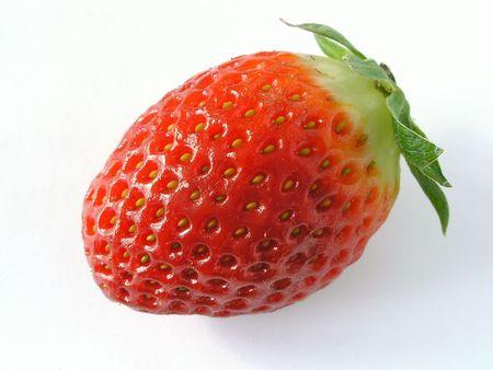 seminal: One strawberry.Isolated on white