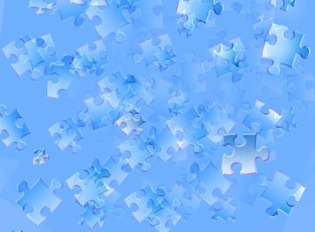 Blue background with puzzles