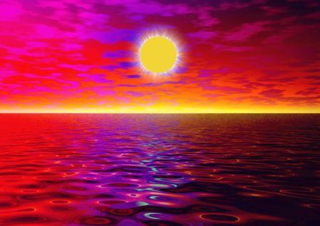 Sunset on the sea. Illustration Stock Photo