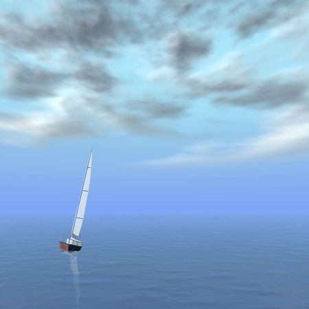 repulse: Lonely sailer in sea