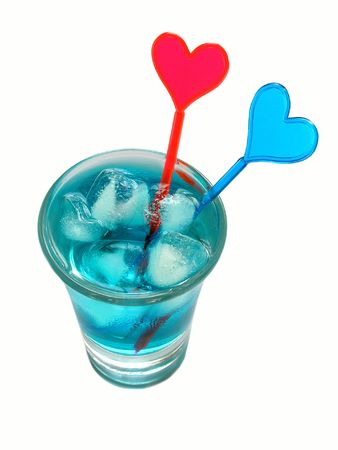 Blue cocktail with color hearts. photo