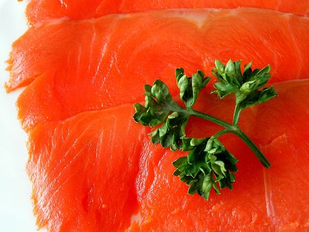 Slice of a red fish - salmon.Close-up Stock Photo - 459452