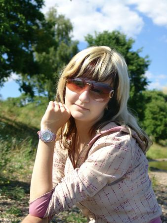 Girl on nature photo