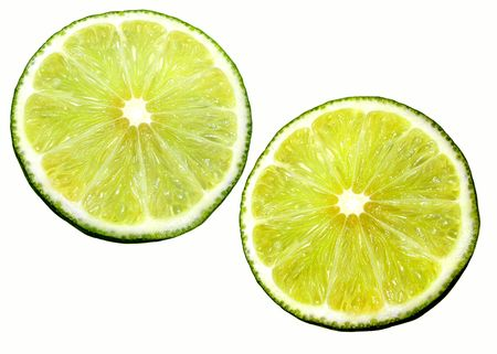 Two morsels of lime. Isolated on white photo