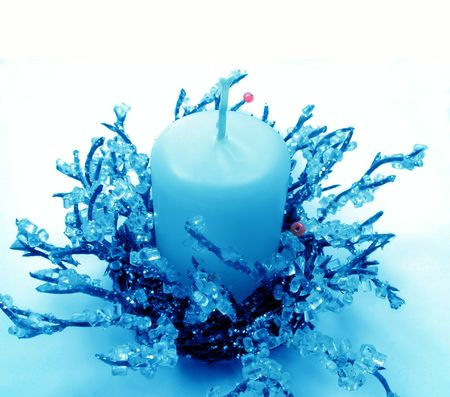 Blue Christmas candlestick Stock Photo - 496275