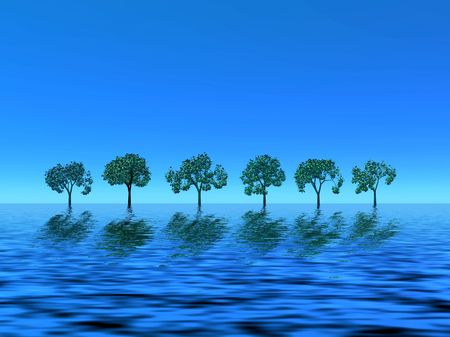 Blue picture with trees Stock Photo - 510666