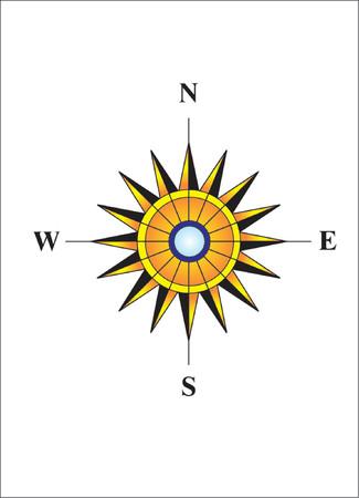 northwest: Compass. Sunny rays