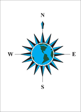 Compass. Blue planet Vector