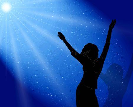 The girl dances disko . Blue light photo