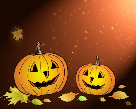 Two pumpkins in yellow leafs Stock Photo