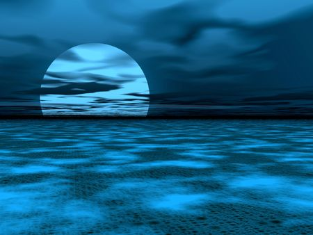 repulse: Blue moon landscape Stock Photo