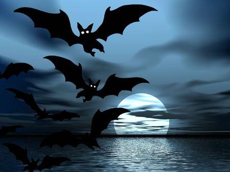 Night landscape. Bats photo