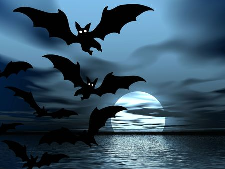 repulse: Night landscape. Bats