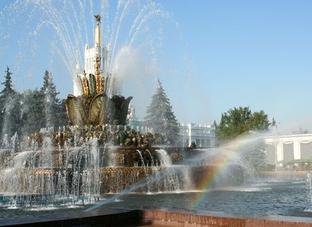 gorgeousness: Rainbow on fountain  Stone flower.THE ALL-RUSSIA EXHIBITION CENTRE Stock Photo
