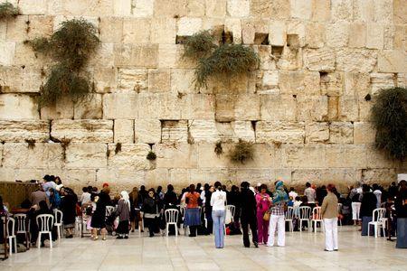 jewry: Israel, Jerusalem. Western wall.  October, 29th 2008. People pray. A female half Editorial