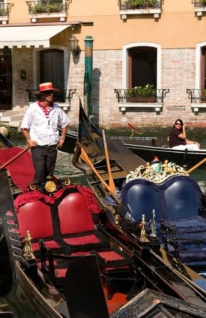 Italy. Venice. August, 30th, 2008. Gondolier Stock Photo - 6887896