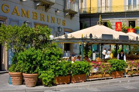 talian: IItaly, Naples, august 26 2008: talian city Naples, street and historic architecture, restaurant Editorial