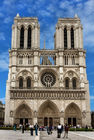 notre: PARIS, FRANCE - JUNE 09, 2010:  Famous Notre Dame Cathedral, a gothic catholic cathedral and a landmark on June 09, 2010 in Paris, France  Editorial