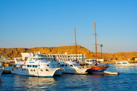 sinai:  Egypt, Sinai Peninsula, Sharm-el-Sheikh, on November, 2nd, 2008: travel on a yacht on reserve on Red Sea Riviera, Ras Muhammad National Park