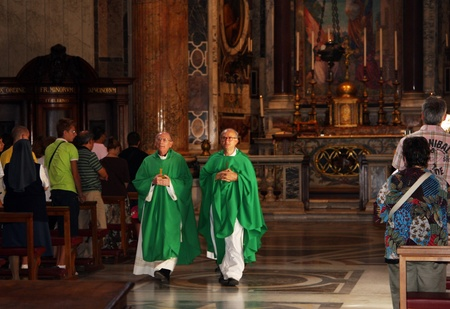 pontiff:  Italy, Rome, Vatican, August, 26th, 2008:  Padres in Basilica of St. Peter, Vatican, Rome, Italy