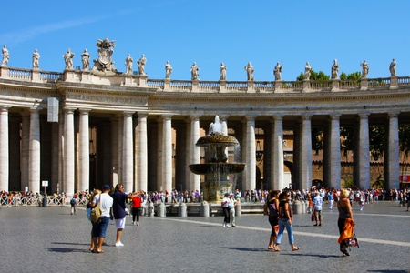 pontiff:   Italy, Rome, Vatican, August, 26th, 2008: Tourists in Vatican, Rome, Italy, Vatican city, St. Peters Basilica.