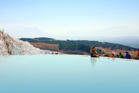 waterfall in the city: Travertine pools and terraces, Pamukkale, Turkey - September 3, 2009 Editorial
