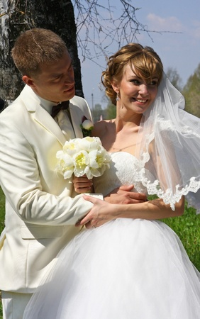 marriageable: Bride and groom in wedding spring day