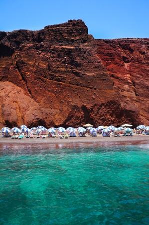 caldera: Seascape and red beach of Santorini island, Greece