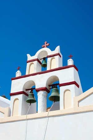 Beautiful Oia village, church in Santorini island  Greece photo