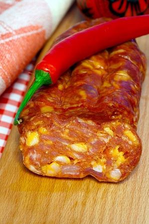 calabria: The south Italy,  Calabria, locale  food - meat, hot sausage