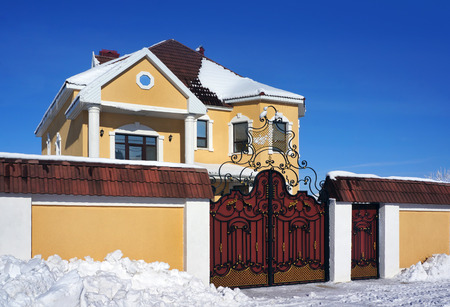 castings: Winter day, House and snowy landscape