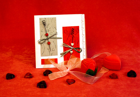 Still-life with various objects for valentines day photo