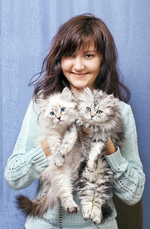 Charming young woman with kittens on blue background photo