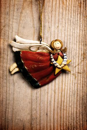 celebratory: Angel on wood backround for celebratory card