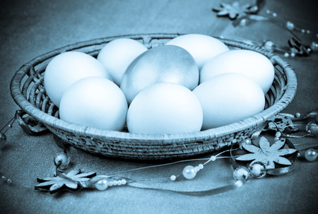 photo of object s: Easter eggs for holiday, Photo in retro style