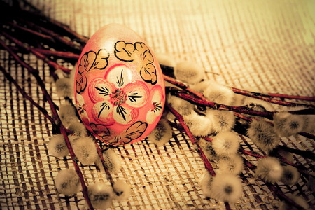 photo of object s: Easter color egg and pussy-willow for holiday  Photo in retro style   Stock Photo