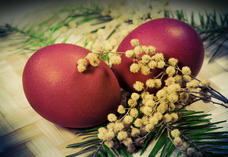 photo of object s: Easter colored eggs  for holiday, Photo in retro style