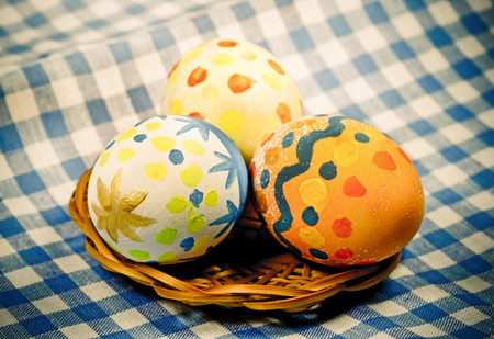photo of object s: Easter color eggs  for holiday, Photo in retro style   Stock Photo