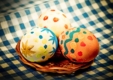 photo of object s: Easter colored eggs for holiday, Photo in retro style   Stock Photo